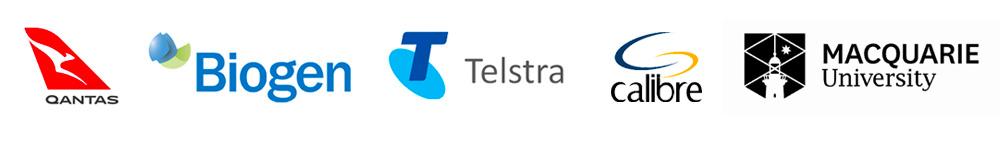 Qantas   Biogen   Telstra   Calibre   Maquarie University